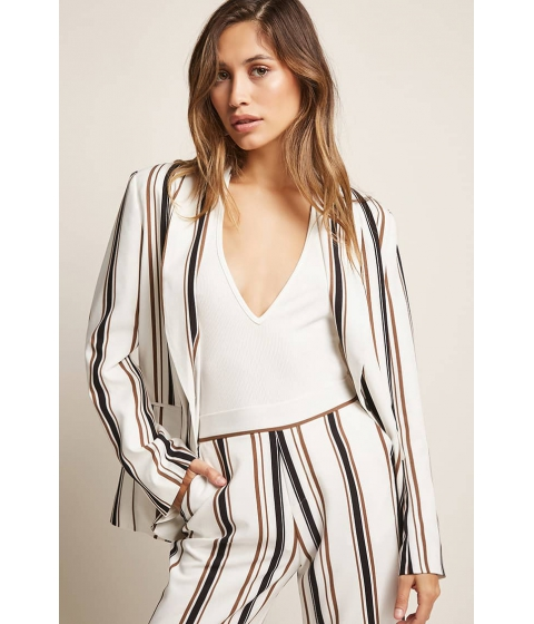 Imbracaminte Femei Forever21 Single-Breasted Striped Blazer WHITEMULTI