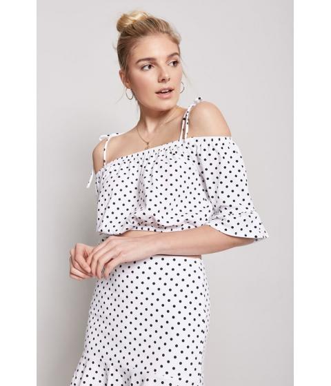 Imbracaminte Femei Forever21 Polka Dot Open-Shoulder Top WHITEBLACK