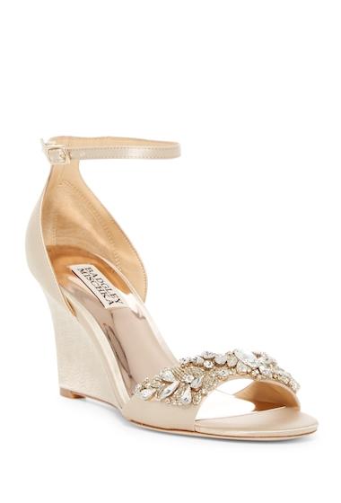 Incaltaminte Femei Badgley Mischka Tyra Crystal Embellished Wedge Heel Sandal NUDE SATIN
