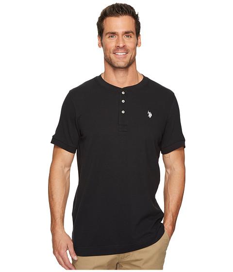 Incaltaminte Barbati US Polo Assn Short Sleeve Henley Solid T-Shirt Black