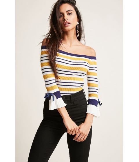 Imbracaminte Femei Forever21 Ribbed Stripe Off-the-Shoulder Top YELLOWNAVY