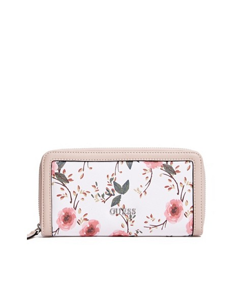 Accesorii Femei GUESS Andover Floral Zip-Around Wallet white multi