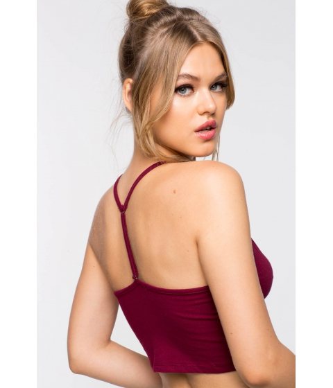 Imbracaminte Femei CheapChic Lace Up Front T Back Longline Bralette WineBurgundy