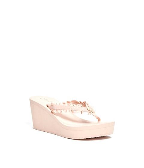 Incaltaminte Femei GUESS Sands Ruffled Wedge Flip Flops pink