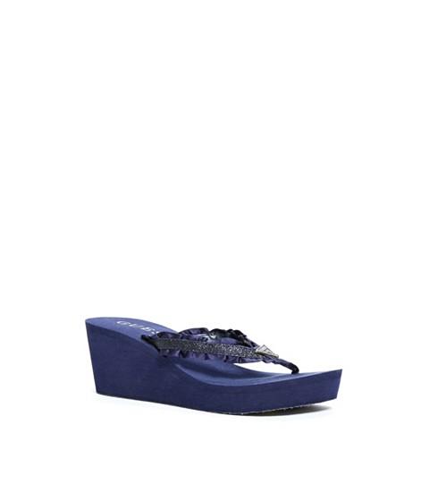 Incaltaminte Femei GUESS Sands Ruffled Wedge Flip Flops denim blue