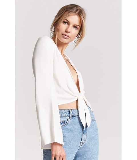 Imbracaminte Femei Forever21 Woven Tie-Front Top WHITE