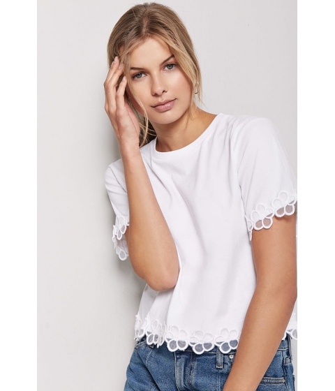 Imbracaminte Femei Forever21 Floral Embroidered-Trim Knit Tee WHITE
