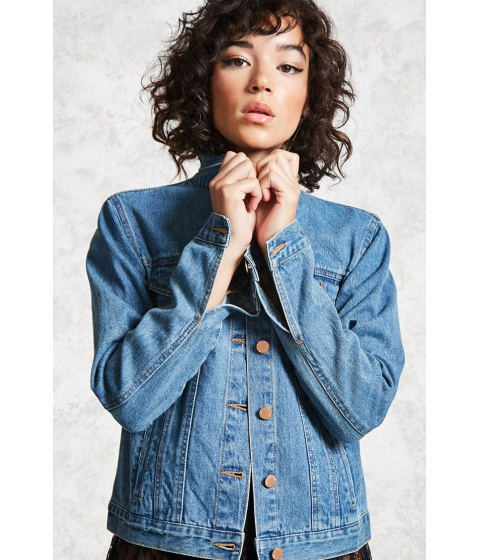 Imbracaminte Femei Forever21 Button-Up Denim Jacket DARK DENIM