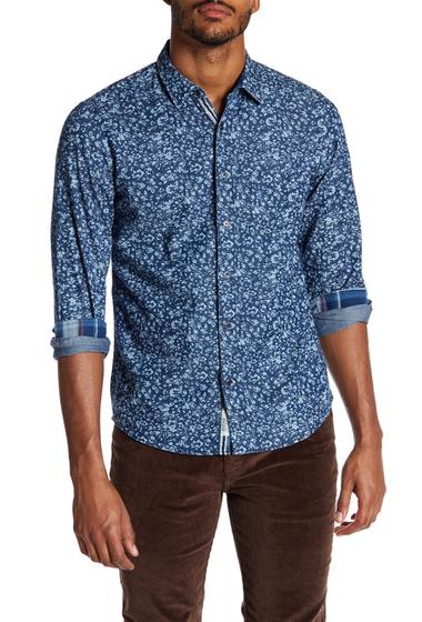 Imbracaminte Barbati Report Collection Floral Print Slim Fit Shirt INDIGO