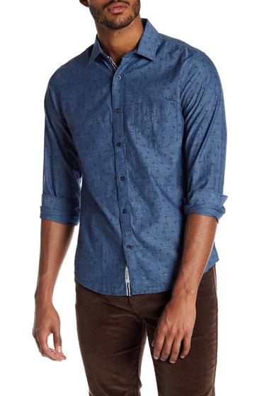 Imbracaminte Barbati Report Collection Scissor Print Slim Fit Shirt INDIGO