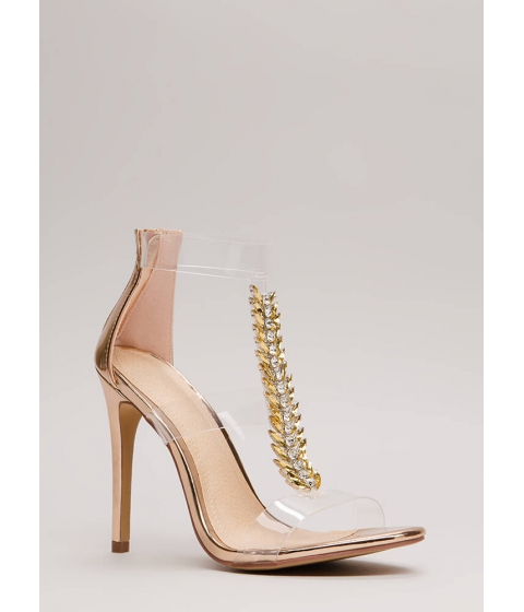 Incaltaminte Femei CheapChic Fine Feather Jeweled Metallic Heels Rosegold