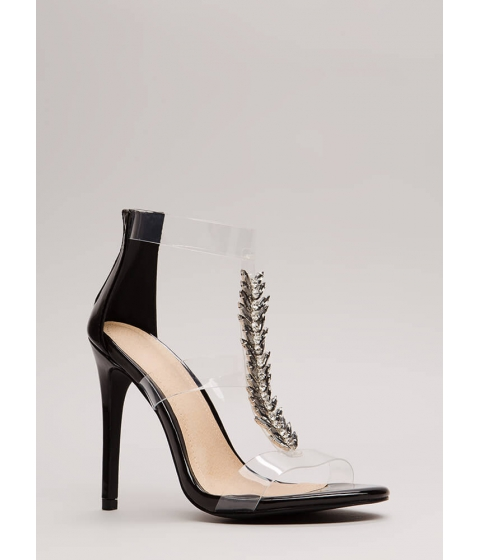 Incaltaminte Femei CheapChic Fine Feather Jeweled Clear Strap Heels Black