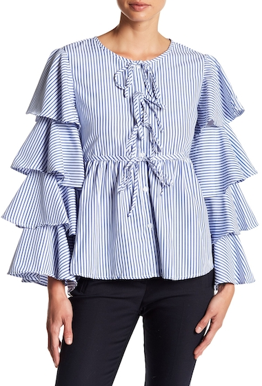 Imbracaminte Femei ALPHA OMEGA Tiered Bell Long Sleeves Button Down Blouse DARK BLUE