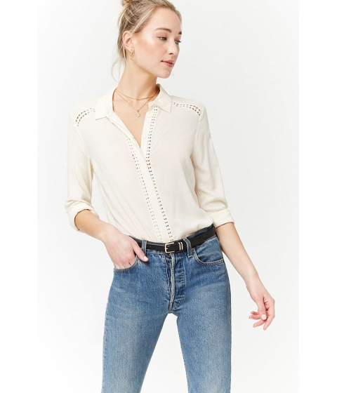 Imbracaminte Femei Forever21 Crochet Trim High-Low Shirt IVORY