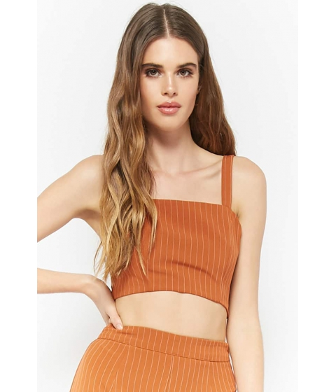 Imbracaminte Femei Forever21 Pinstriped Crop Top RUSTWHITE