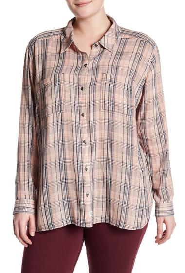 Imbracaminte Femei Melrose and Market Classic Double Weave Shirt Plus Size CORAL SHRIMP SOFT PLAID