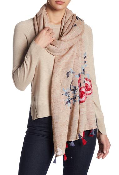 Accesorii Femei vismaya Floral Embroidered Tassel Trim Scarf SAND STONE