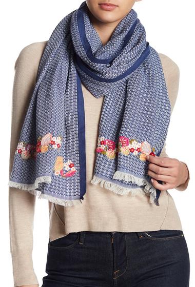 Accesorii Femei vismaya Floral Embroidery Woven Scarf BLUE