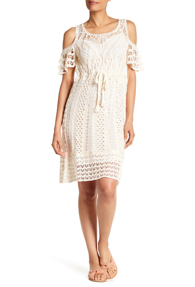 Imbracaminte Femei See by Chloe Crochet Cold Shoulder Dress NATURAL WHITE SHT