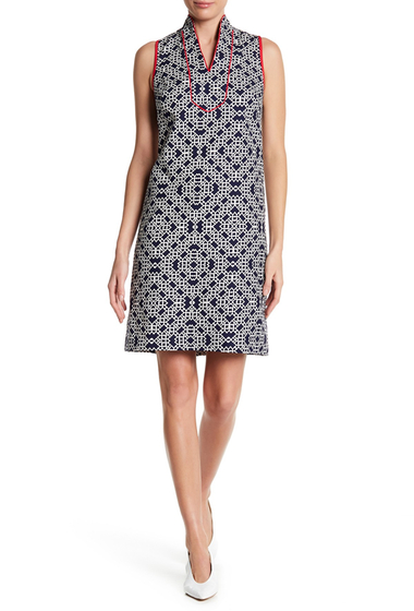 Imbracaminte Femei Eliza J Geometric Patterned Mandarin Collared Dress NAVY IVORY
