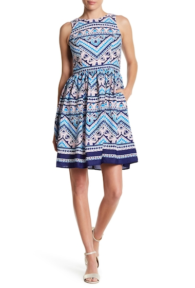 Imbracaminte Femei Eliza J Patterned Fit Flare Dress BLUE