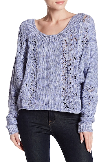 Imbracaminte Femei Melrose and Market Dolman Spacedye Sweater BLUE DENIM COMBO