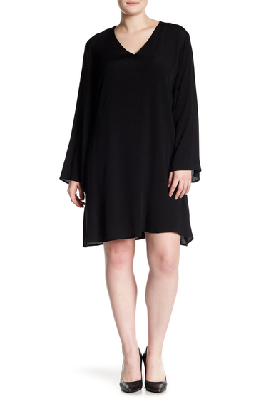 Imbracaminte Femei GLAMOROUS Long Sleeve V-Neck Dress Plus Size BLACK
