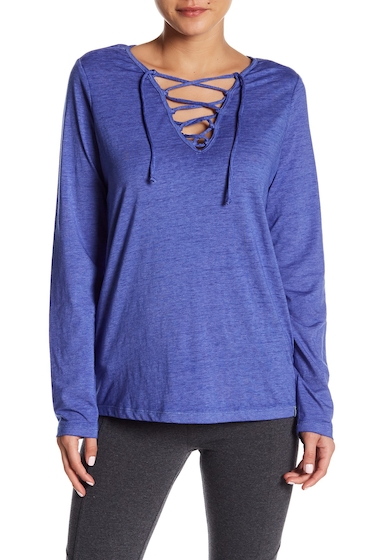 Imbracaminte Femei Marc New York Long Sleeve Lace-Up Tee CERULEAN