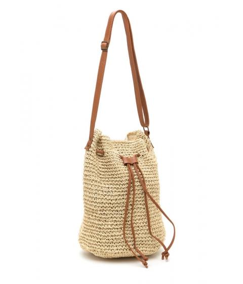 Accesorii Femei CheapChic Natural Woman Woven Straw Bucket Bag Natural