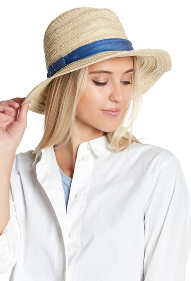 Accesorii Femei Melrose and Market Denim Trim Panama Hat NATURAL