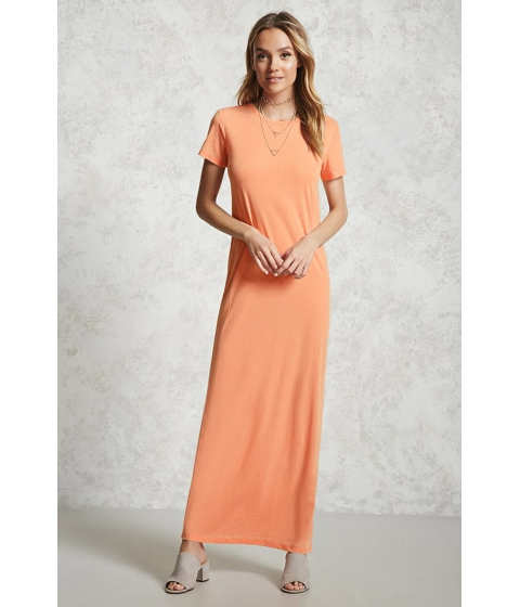 Imbracaminte Femei Forever21 Burnout T-Shirt Maxi Dress NEON CORAL