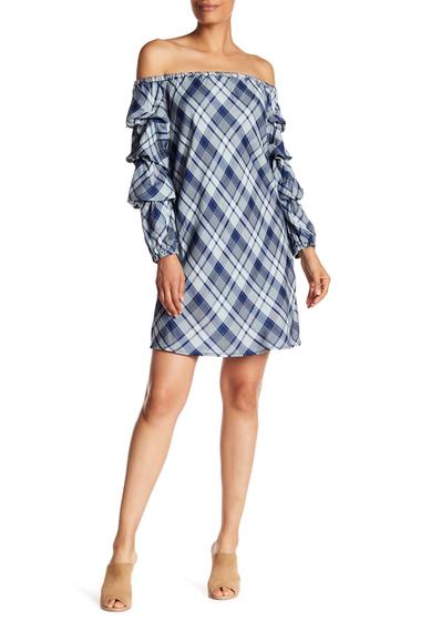 Imbracaminte Femei Max Studio Ruffled Sleeve Off-the-Shoulder Plaid Dress INDIGOGREYBLUE