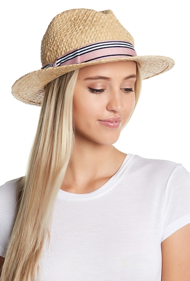 Accesorii Femei 14th Union Striped Band Raffia Panama Hat BLUSH COMBO