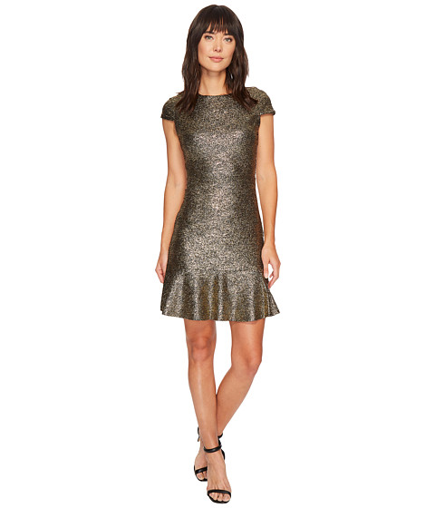 Imbracaminte Femei MICHAEL Michael Kors Foil Knit Short Sleeve Flounce Dress BlackGold