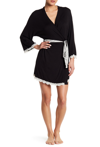 Imbracaminte Femei Honeydew Intimates All American Lace Trim Robe BLACK