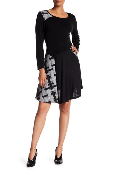 Imbracaminte Femei Papillon Contrast Pattern Sweater Dress BLK-GREY