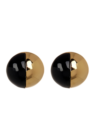 Bijuterii Femei Trina Turk Resin Colorblock Stud Earrings GOLD PL BLACK