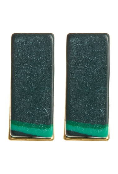 Bijuterii Femei Trina Turk Malachite Bar Stud Earrings GOLDMALACHITE