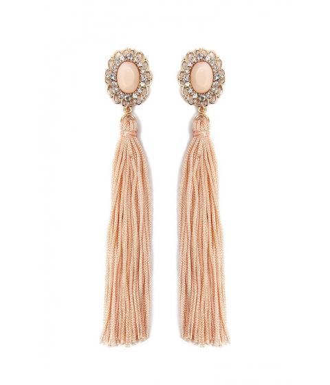 Bijuterii Femei Forever21 Faux Gemstone Tassel Drop Earrings GOLDPEACH