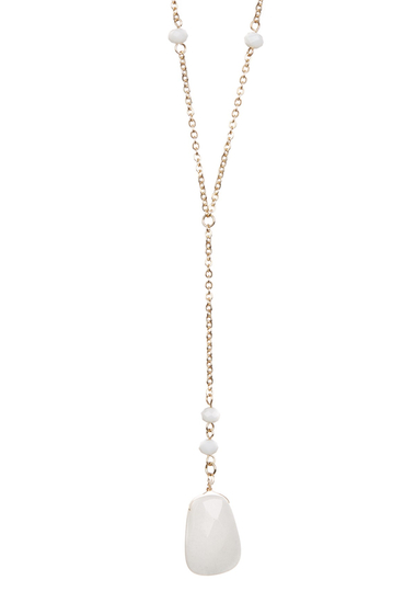 Bijuterii Femei Spring Street Wire-Wrapped White Stone Faceted Bead Y-Drop Necklace WHITE