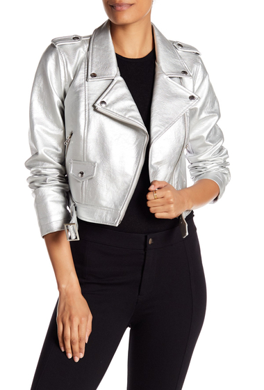 Imbracaminte Femei Sebby Metallic Moto Faux Leather Jacket SILVER