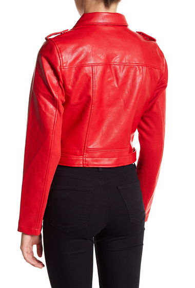 Imbracaminte Femei Sebby Metallic Moto Faux Leather Jacket RED