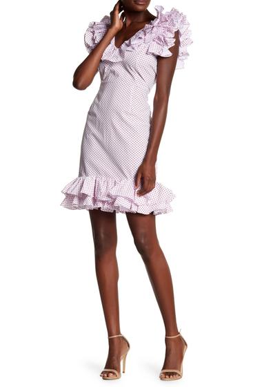 Imbracaminte Femei Tea Cup Polk-A-Dot Ruffle Off The Shoulder Dress WHITE-RED