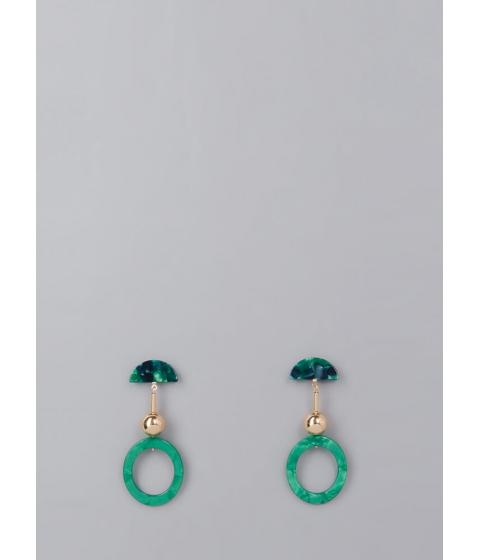 Bijuterii Femei CheapChic The Big O Marbled Geometric Earrings Green