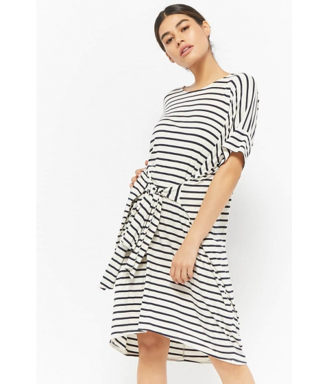 Imbracaminte Femei Forever21 Striped Tie-Front T-Shirt Dress CREAMNAVY