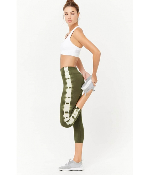 Imbracaminte Femei Forever21 Active Tie-Dye Capri Leggings OLIVEWHITE