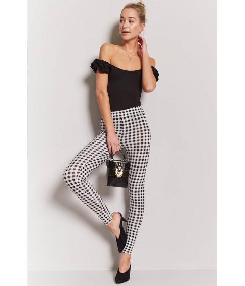 Imbracaminte Femei Forever21 Gingham Cotton-Blend Leggings BLACKWHITE