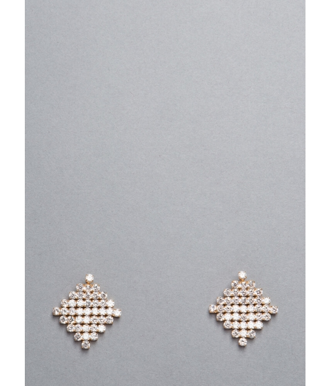 Bijuterii Femei CheapChic Flash Jeweled Diamond-shaped Earrings Gold