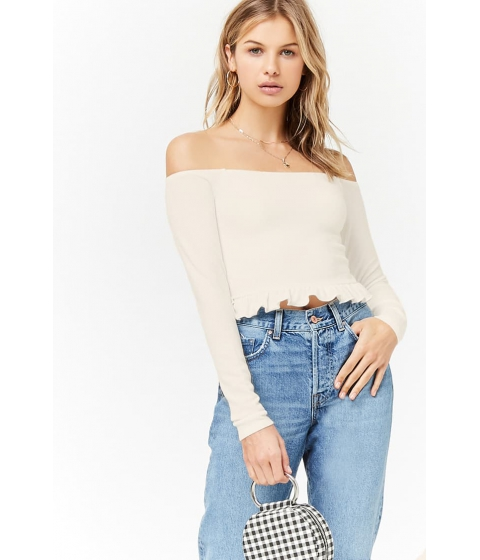 Imbracaminte Femei Forever21 Off-the-Shoulder Ruffle Crop Top IVORY