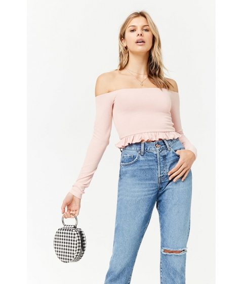Imbracaminte Femei Forever21 Off-the-Shoulder Ruffle Crop Top DUSTY PINK